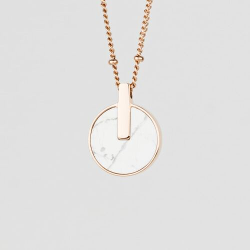 Opacity Necklace (White Marble/Rose Gold)