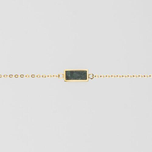 Abstract Bracelet (Green Marble/Gold)