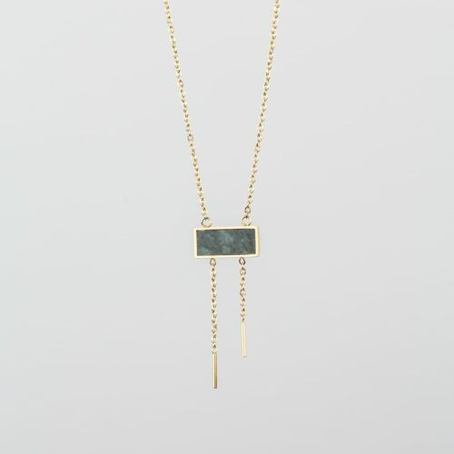 Abstract Necklace (Green Marble/Gold)