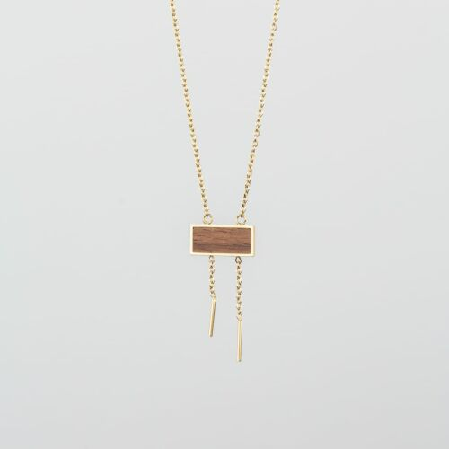 Abstract Necklace (Walnut/Gold)
