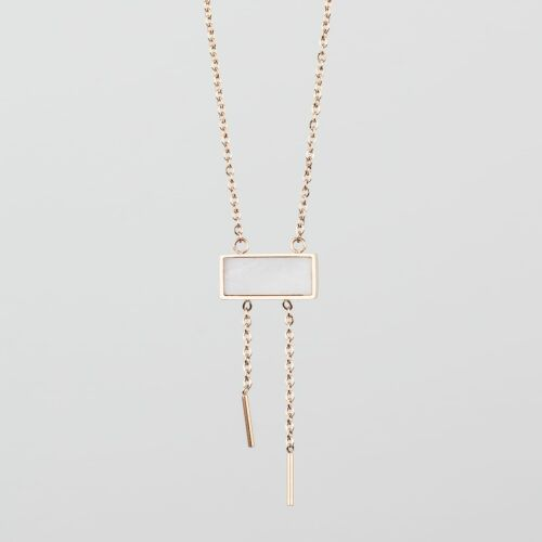 Abstract Necklace (White Marble/Rose Gold)