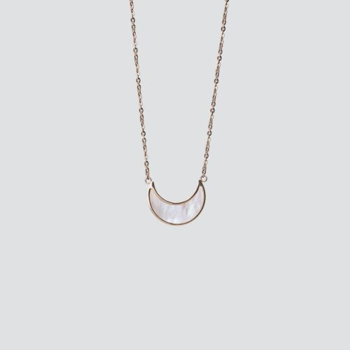 Hue Necklace (White Nacre/Rose Gold)