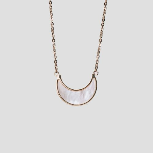 Hue Necklace (White Nacre/Rose Gold)