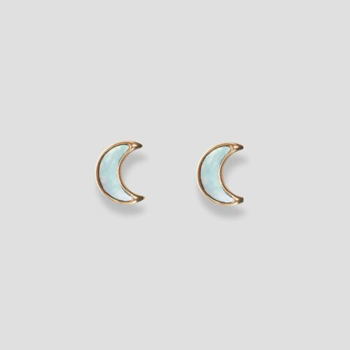 Hue Earrings (Blue Nacre/Rose Gold)