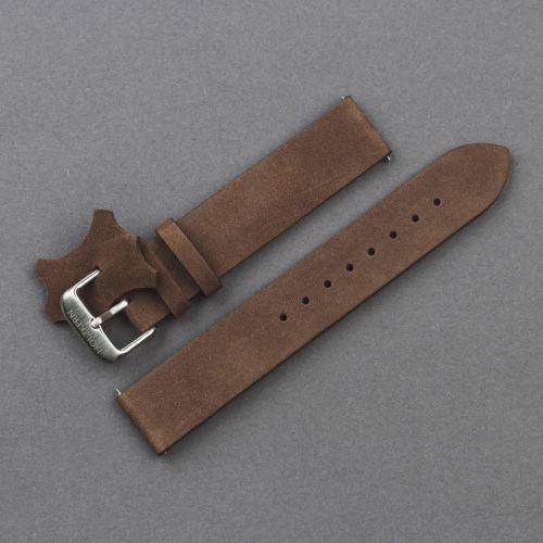Leather Strap 18mm (Dark-brown/Silver)