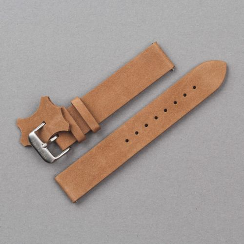 Leather Strap 18mm (Light-brown/Silver)