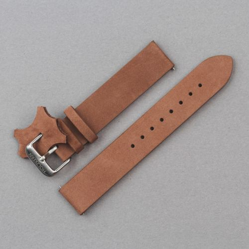 Leather Strap 18mm (Rust-brown/Silver)