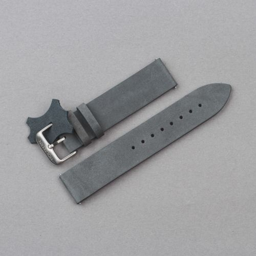 Leather Strap 20mm (Gray-blue/Silver)