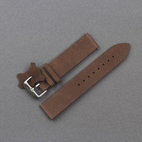 Leather Strap 20mm (Dark-brown/Silver)