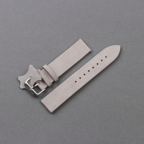 Leather Strap 20mm (Light-gray/Silver)