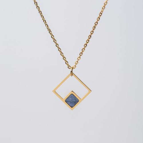 Geometric Necklace (Marble/Gold)