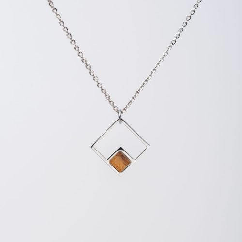 Geometric Necklace (Koa/Silver)