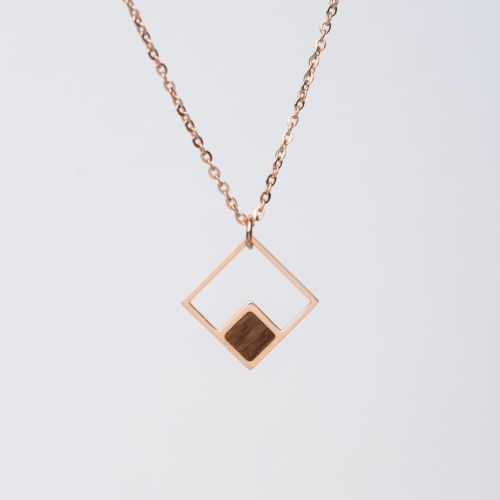 Geometric Necklace (Walnut/Rose Gold)