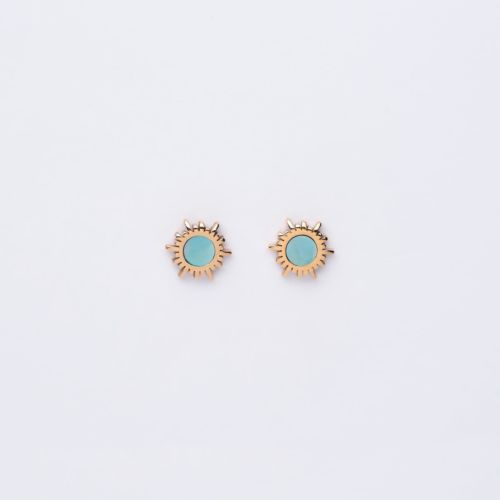 Shade Earrings (Blue Nacre/Rose Gold)
