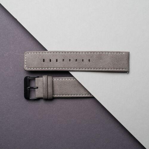 Vegan Leather Strap 22mm (Gray/Black)