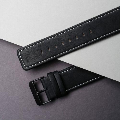 Vegan Leather Strap 22mm (Black/Black)