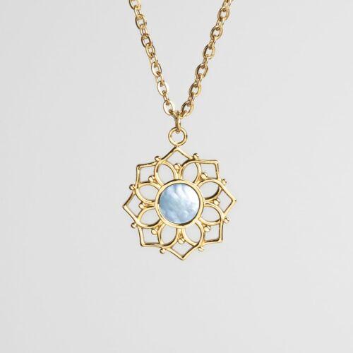 Composition Necklace (Blue Nacre/Gold)