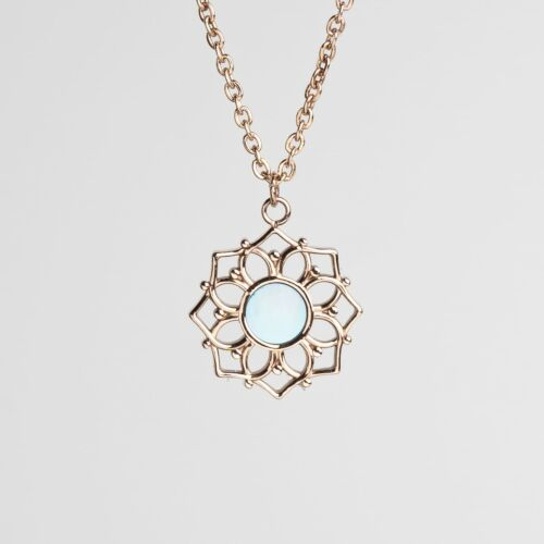 Composition Necklace (Blue Nacre/Rose Gold)