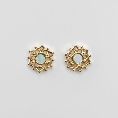 Composition Earrings (Blue Nacre/Gold)