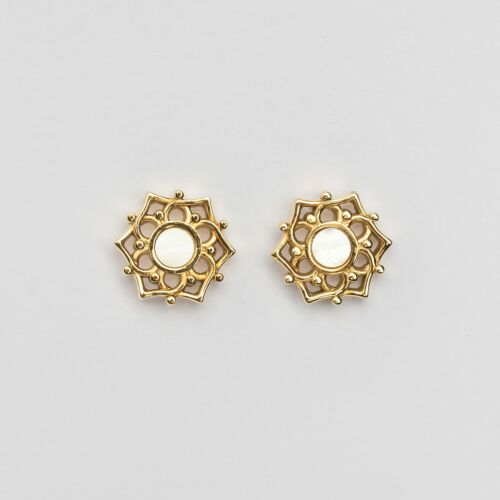 Composition Earrings (White Nacre/Gold)