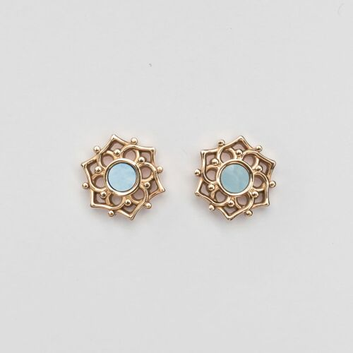 Composition Earrings (Blue Nacre/Rose Gold)