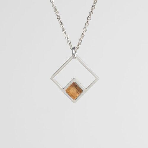 Geometric Necklace (Koa/Silver)