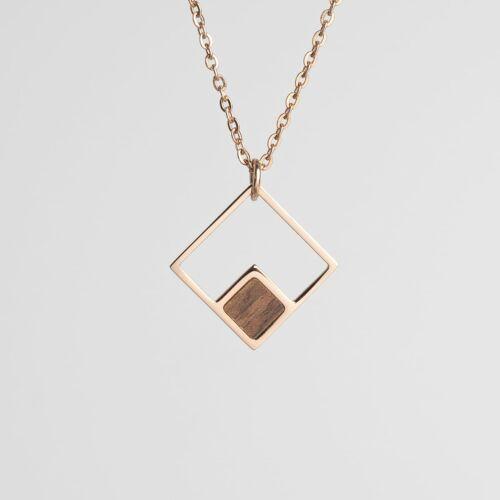 Geometric Necklace (Walnut/Rose Gold)