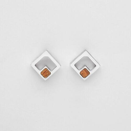 Geometric Earrings (Koa/Silver)