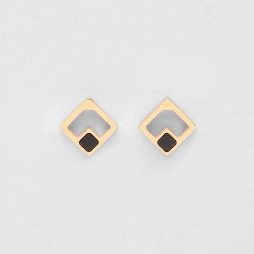 Geometric Earrings (Marble/Rose Gold)