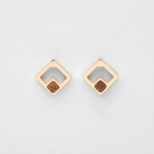 Geometric Earrings (Walnut/Rose Gold)