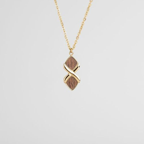 Mosaic Necklace (Walnut/Gold)
