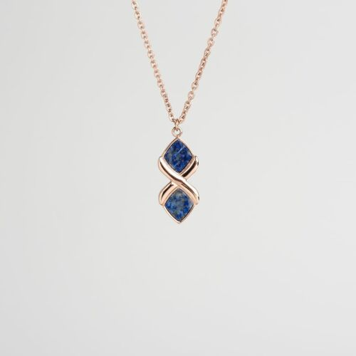 Mosaic Necklace (Lapis Lazuli/Rose Gold)