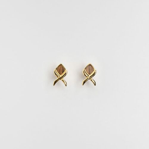 Mosaic Earrings (Walnut/Gold)