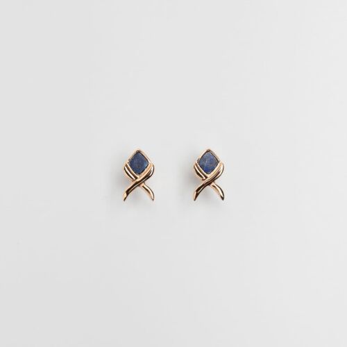 Mosaic Earrings (Lapis Lazuli/Rose Gold)
