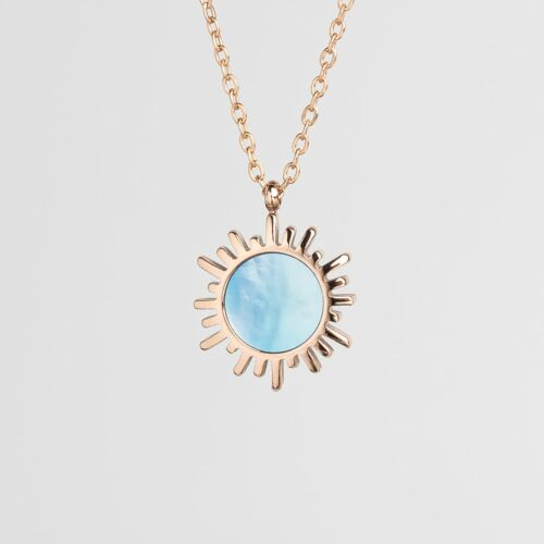 Shade Necklace (Blue Nacre/Rose Gold)
