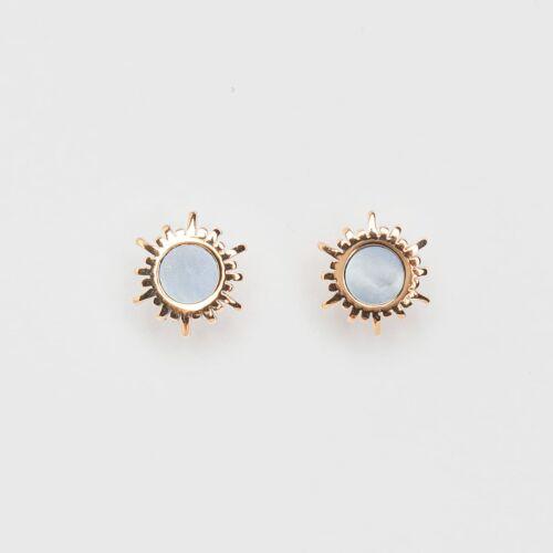 Shade Earrings (Blue Nacre/Rose Gold)