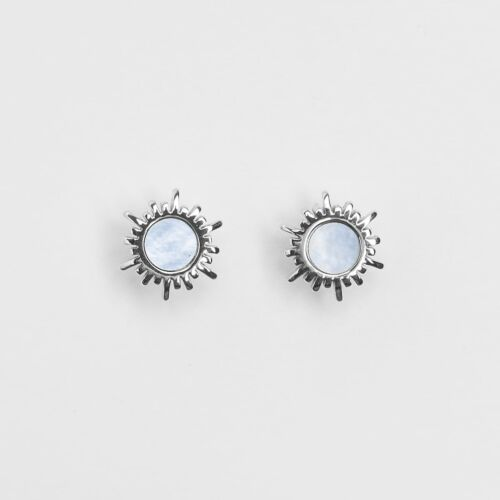 Shade Earrings (Blue Nacre/Silver)
