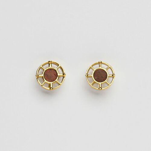 Amulet Earrings (Amaranth/Gold)