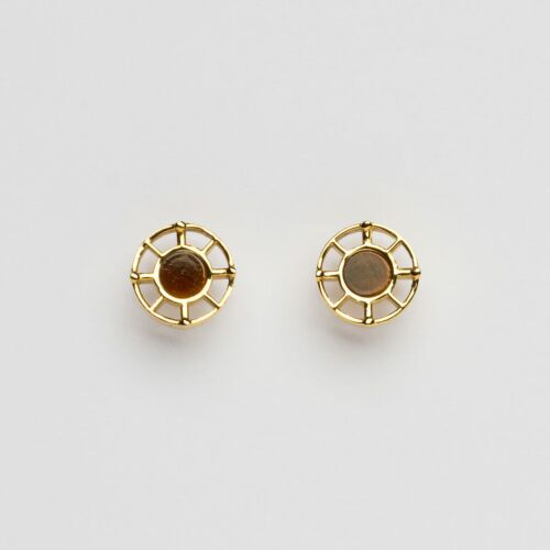 Amulet Earrings (Tiger's Eye/Gold)