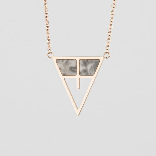 Chiaroscuro Necklace (Gray Marble/Rose Gold)