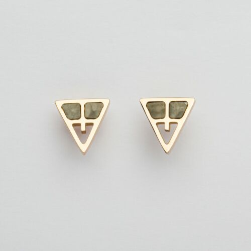 Chiaroscuro Earrings (Gray Marble/Rose Gold)