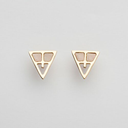 Chiaroscuro Earrings (Pink Marble/Rose Gold)