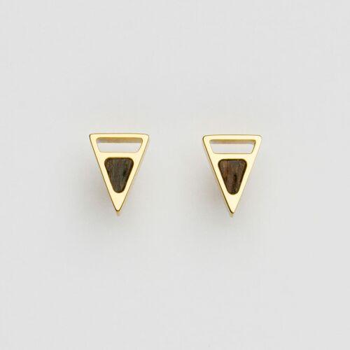 Ink Earrings (Wenge/Gold)