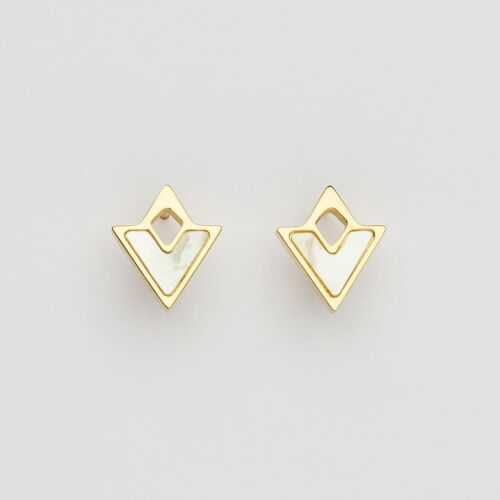 Conceptual Earrings (Nacre/Gold)
