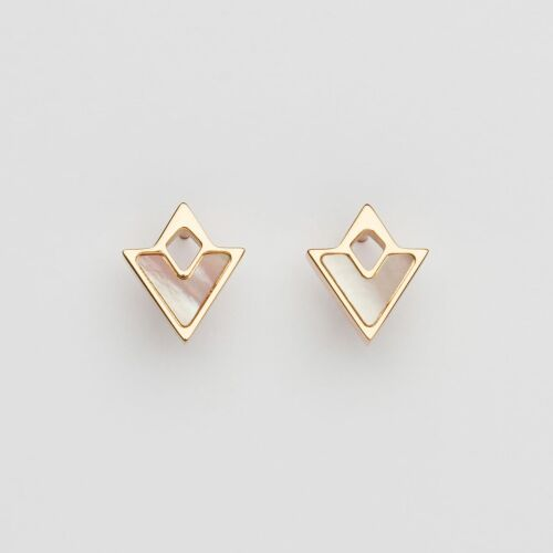 Conceptual Earrings (Pink Nacre/Rose Gold)