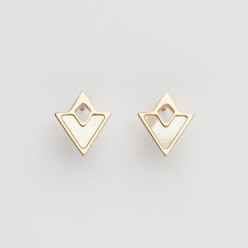 Conceptual Earrings (White Nacre/Rose Gold)