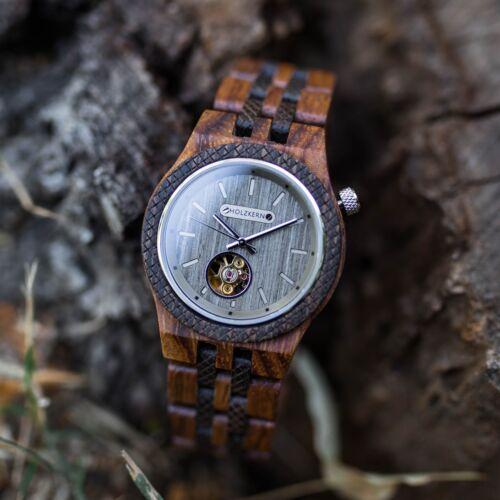 Holzuhr wood watch Holzkern Aurel Automatikuhr Aurel 1