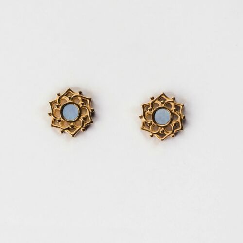 Composition Earrings (Blue Nacre/Gold)