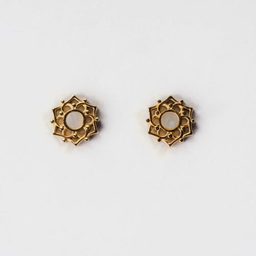 Composition Earrings (White Nacre/Gold)