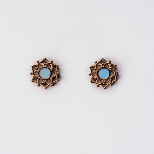 Composition Earrings (Blue Nacre/Rose Gold)